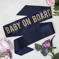 'Baby On Board' Glitter Print Baby Shower Sash