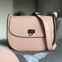 Leather Cross Body Handbag, Nude