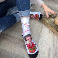 Suprise Present Christmas Personalised Photo Socks