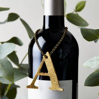 Glitter Initial Bottle Tag, Red/Gold/Silver