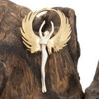 Angel Pendant In Gold And Sterling Silver, Silver