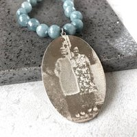 Personalised Photo Memory Necklace With Blue Agate, Blue