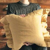 Linen Gingham Frilled Cushion Cottagecore Pillow