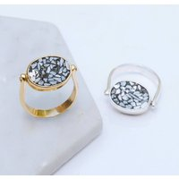 Gold And Silver Crushed Diamond Rotating Ring, Silver