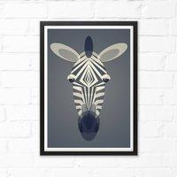 Zebra Mid Century Art Print