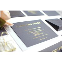 Grey And Gold Foil Bespoke Wedding Invitation