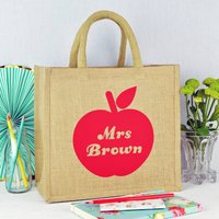 Personalised Apple Teacher Jute Bag, Red/Green