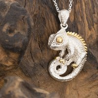 Chameleon Necklace/Pendant In Gold And Silver, Silver