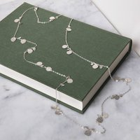 Hammered Silver Discs Long Layering Necklace, Silver