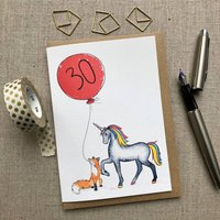 Personalised 30th Birthday Rainbow Unicorn And Fox Card