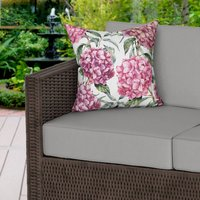 Pink Hydrangeas White Water Resistant Outdoor Cushion
