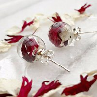 Sterling Silver Glass And Burgundy Petal Studs, Silver