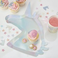 Iridescent Unicorn Shaped Party Paper Plates