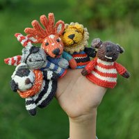 Hand Knitted Finger Puppet In Organic Cotton