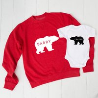 Personalised Daddy Bear Jumper And Baby Grow Set, Red