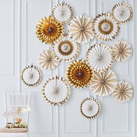 Gold Foiled Party Fan Decorations Backdrop