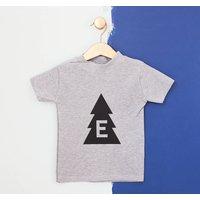 Personalised Kids Christmas Tree Tshirt, White/Black/Gold