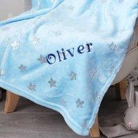 Personalised Boys Silver Star Baby Blanket