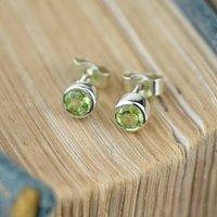 Solid Gold Peridot Gemstone Earrings, Gold