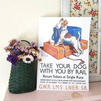 Fox Terrier Dog Gwr Train Travel Poster Print