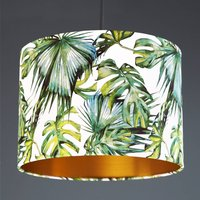 Green And White Tropical Plant Drum Lampshade