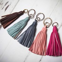 Leather Tassel Key Ring, Red/Silver/Blue