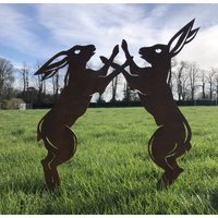 Rusty Metal Boxing Hares Garden Feature