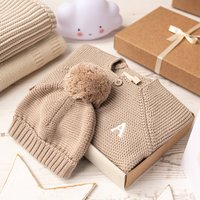 Luxury Fudge Bobble Hat And Cardigan Baby Gift Box