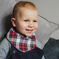 Tartan Baby Bib And Hairband Set Option