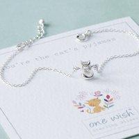 Cute Cat Sterling Silver Bracelet, Silver