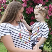 Personalised Summer Floral Breton Tshirt Set