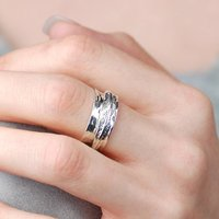 Feather Ring In Hallmarked Sterling Silver, Silver