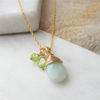 Amazonite And Peridot Rolled Gold Necklace, Gold