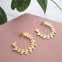 Gold Olive Branch Leaf Hoop Stud Earrings, Gold