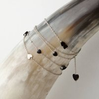 Valentine Love Heart Long Charm Necklace In Silver, Silver