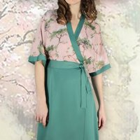 Special Occasion Wrap Dress In Crepe And Cloudpine Silk
