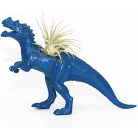 Hand Painted Blue Dinosaur Planter With A Plant