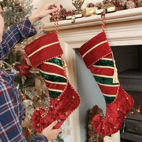 Luxury Elf Boot Christmas Stocking With Bells