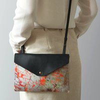 Orange Crossbody Bag With Leather
