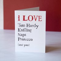 Things I Love Bespoke Valentine Or Anniversary Card