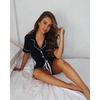 Personalised Women's Black Chloe Bamboo Cotton Pyjamas