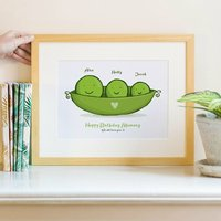 Peas In A Pod Personalised Family Print, Green/Black/White