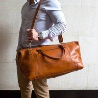 Personalised Leather Holdall Weekend Bag  Aviator , Coffee/Tan