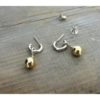 Silver And Gold Mini Hoop Earrings, Silver