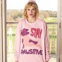 Stay Pawsitive Women's Dog Slogan Sweatshirt
