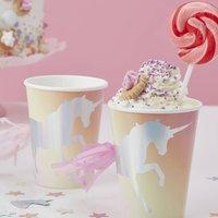 Iridescent Foiled Unicorn Pastel Tassel Paper Cups