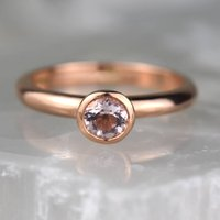 Solid 9ct Rose Gold Morganite Solitaire Ring, Gold