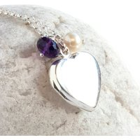 Personalised Silver Heart Locket With Birthstone, Silver