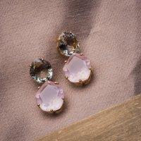 18ct Gold Vermeil, Green Amethyst, Rose Quartz Earrings, Gold
