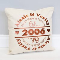 Personalised 'Match Made In' Cushion, Copper